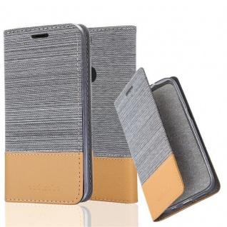Cadorabo Hülle für OnePlus 5T in HELL GRAU BRAUN Handyhülle mit Magnetverschluss, Standfunktion und Kartenfach Case Cover Schutzhülle Etui Tasche Book Klapp Style