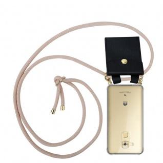 Cadorabo Handy Kette für Huawei NOVA PLUS in PERLIG ROSÉGOLD Silikon Necklace Umhänge Hülle mit Gold Ringen, Kordel Band Schnur und abnehmbarem Etui Schutzhülle