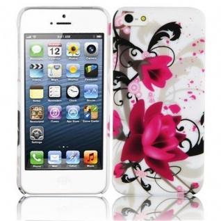 Cadorabo Hülle für Apple iPhone 5 / 5S / SE - Hülle im Design ROTE ROSE ? Hardcase Handyhülle mit Aufdruck - Schutzhülle Bumper Back Case Cover