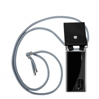 Cadorabo Handy Kette für Huawei P40 in SILBER GRAU Silikon Necklace Umhänge Hülle mit Silber Ringen, Kordel Band Schnur und abnehmbarem Etui Schutzhülle