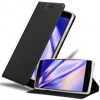 Cadorabo Hülle für OnePlus 2 in CLASSY SCHWARZ Handyhülle mit Magnetverschluss, Standfunktion und Kartenfach Case Cover Schutzhülle Etui Tasche Book Klapp Style