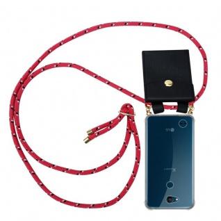 Cadorabo Handy Kette für LG X Power 3 in PINK SCHWARZ WEISS GEPUNKTET - Silikon Necklace Umhänge Hülle mit Gold Ringen, Kordel Band Schnur und abnehmbarem Etui ? Schutzhülle