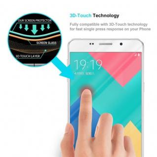 Cadorabo Vollbild Panzer Folie für Samsung Galaxy A9 2016 - Schutzfolie in TRANSPARENT mit WEISS - Gehärtetes (Tempered) Display-Schutzglas in 9H Härte mit 3D Touch Kompatibilität - Vorschau 5