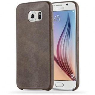Cadorabo Hülle für Samsung Galaxy S6 - Hülle in VINTAGE BRAUN ? Hardcase Handyhülle aus Kunstleder - Schutzhülle Bumper Back Case Cover