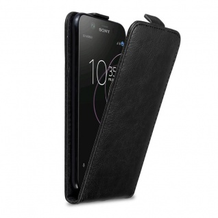 Cadorabo Hülle für Sony Xperia XZ1 in NACHT SCHWARZ - Handyhülle im Flip Design mit Magnetverschluss - Case Cover Schutzhülle Etui Tasche Book Klapp Style