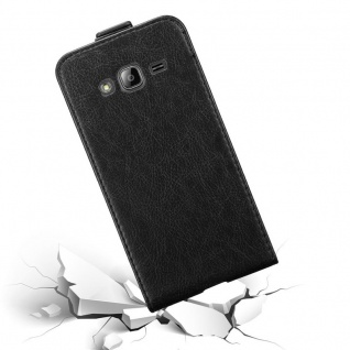Cadorabo Hülle für Samsung Galaxy J3 / J3 DUOS 2016 in NACHT SCHWARZ - Handyhülle im Flip Design mit unsichtbarem Magnetverschluss - Case Cover Schutzhülle Etui Tasche Book Klapp Style - Vorschau 4