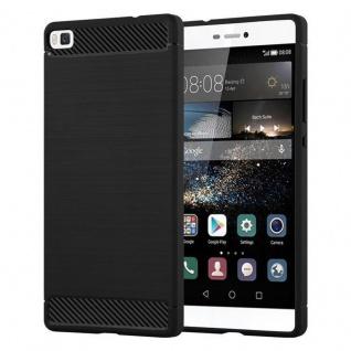 Cadorabo Hülle für Huawei P8 - Hülle in BRUSHED SCHWARZ - Handyhülle aus TPU Silikon in Edelstahl-Karbonfaser Optik - Silikonhülle Schutzhülle Ultra Slim Soft Back Cover Case Bumper