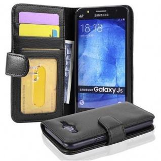 Cadorabo Hülle für Samsung Galaxy J5 2015 in OXID SCHWARZ - Handyhülle mit Magnetverschluss und 3 Kartenfächern - Case Cover Schutzhülle Etui Tasche Book Klapp Style