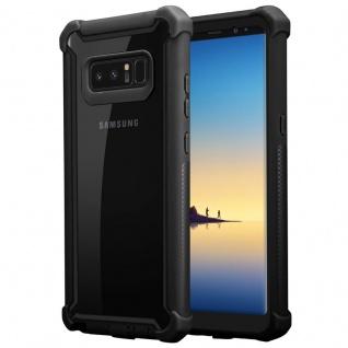 Cadorabo Hülle für Samsung Galaxy NOTE 8 in ERLEN SCHWARZ 2-in-1 Handyhülle mit TPU Silikon-Rand und Acryl-Glas-Rücken Schutzhülle Hybrid Hardcase Back Case