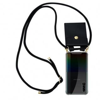 Cadorabo Handy Kette für Samsung Galaxy A90 5G in SCHWARZ Silikon Necklace Umhänge Hülle mit Gold Ringen, Kordel Band Schnur und abnehmbarem Etui Schutzhülle