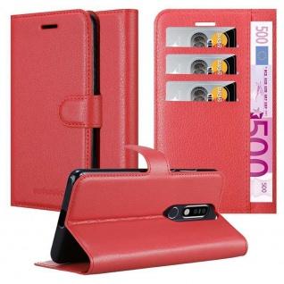 Cadorabo Hülle für Nokia 8.1 2019 in KARMIN ROT Handyhülle mit Magnetverschluss, Standfunktion und Kartenfach Case Cover Schutzhülle Etui Tasche Book Klapp Style
