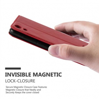 Cadorabo Hülle für WIKO LENNY 4 in APFEL ROT Handyhülle mit Magnetverschluss, Standfunktion und Kartenfach Case Cover Schutzhülle Etui Tasche Book Klapp Style - Vorschau 4