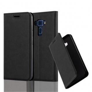Cadorabo Hülle für Asus ZenFone 3 in NACHT SCHWARZ Handyhülle mit Magnetverschluss, Standfunktion und Kartenfach Case Cover Schutzhülle Etui Tasche Book Klapp Style