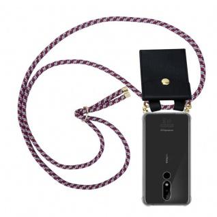 Cadorabo Handy Kette für Nokia 3.1 Plus in ROT WEISS - Silikon Necklace Umhänge Hülle mit Gold Ringen, Kordel Band Schnur und abnehmbarem Etui ? Schutzhülle