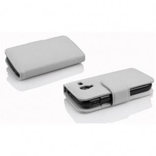 Cadorabo Hülle für Samsung Galaxy ACE 2 in MAGNESIUM WEIß ? Handyhülle aus strukturiertem Kunstleder mit Standfunktion und Kartenfach ? Case Cover Schutzhülle Etui Tasche Book Klapp Style - Vorschau 3
