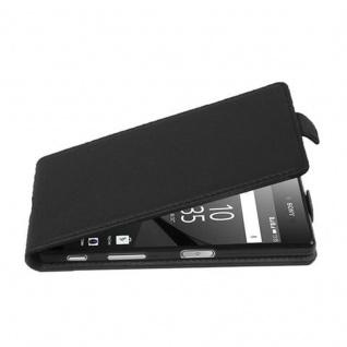Cadorabo Hülle für Sony Xperia Z5 in OXID SCHWARZ - Handyhülle im Flip Design aus strukturiertem Kunstleder - Case Cover Schutzhülle Etui Tasche Book Klapp Style