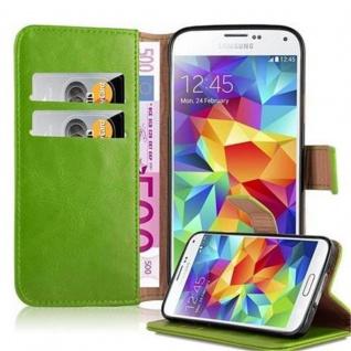 Cadorabo Hülle für Samsung Galaxy S5 / S5 NEO in GRASS GRÜN ? Handyhülle mit Magnetverschluss, Standfunktion und Kartenfach ? Case Cover Schutzhülle Etui Tasche Book Klapp Style