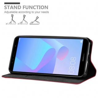 Cadorabo Hülle für Huawei Y6 PRIME in APFEL ROT Handyhülle mit Magnetverschluss, Standfunktion und Kartenfach Case Cover Schutzhülle Etui Tasche Book Klapp Style - Vorschau 4