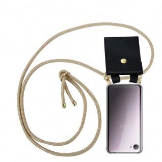 Cadorabo Handy Kette für HTC Desire 12 in GLÄNZEND BRAUN - Silikon Necklace Umhänge Hülle mit Gold Ringen, Kordel Band Schnur und abnehmbarem Etui ? Schutzhülle