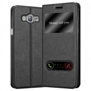Cadorabo Hülle für Samsung Galaxy A8 2015 in KOMETEN SCHWARZ ? Handyhülle mit Magnetverschluss, Standfunktion und 2 Sichtfenstern ? Case Cover Schutzhülle Etui Tasche Book Klapp Style