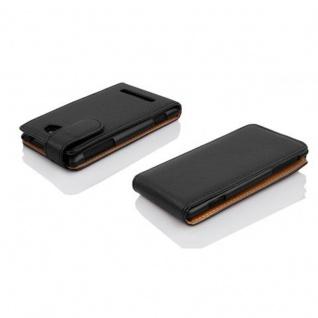 Cadorabo Hülle für Nokia Lumia 1020 - Hülle in OXID SCHWARZ ? Handyhülle aus strukturiertem Kunstleder im Flip Design - Case Cover Schutzhülle Etui Tasche
