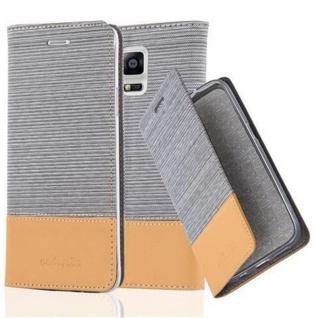 Cadorabo Hülle für Samsung Galaxy NOTE 4 in HELL GRAU BRAUN - Handyhülle mit Magnetverschluss, Standfunktion und Kartenfach - Case Cover Schutzhülle Etui Tasche Book Klapp Style