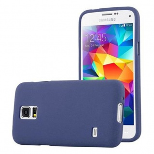 Cadorabo Hülle für Samsung Galaxy S5 MINI / S5 MINI DUOS in FROST DUNKEL BLAU Handyhülle aus flexiblem TPU Silikon Silikonhülle Schutzhülle Ultra Slim Soft Back Cover Case Bumper - Vorschau 1