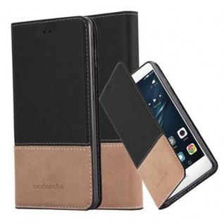Cadorabo Hülle für Huawei P9 LITE in SCHWARZ BRAUN ? Handyhülle mit Magnetverschluss, Standfunktion und Kartenfach ? Case Cover Schutzhülle Etui Tasche Book Klapp Style