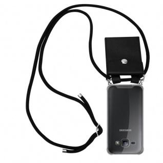Cadorabo Handy Kette für Samsung Galaxy J1 2015 in SCHWARZ - Silikon Necklace Umhänge Hülle mit Silber Ringen, Kordel Band Schnur und abnehmbarem Etui - Schutzhülle