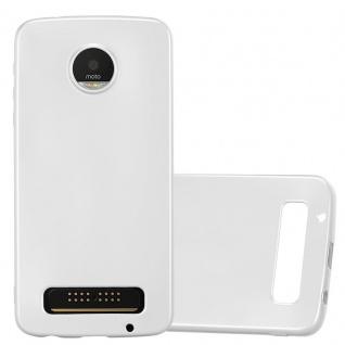 Cadorabo Hülle für Motorola MOTO Z PLAY in METALLIC SILBER - Handyhülle aus flexiblem TPU Silikon - Silikonhülle Schutzhülle Ultra Slim Soft Back Cover Case Bumper