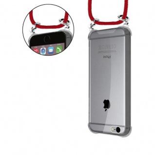 Cadorabo Handy Kette für Apple iPhone 6 PLUS / iPhone 6S PLUS in RUBIN ROT - Silikon Necklace Umhänge Hülle mit Silber Ringen, Kordel Band Schnur und abnehmbarem Etui - Schutzhülle - Vorschau 5