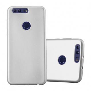 Cadorabo Hülle für Honor 8 in METALLIC SILBER - Handyhülle aus flexiblem TPU Silikon - Silikonhülle Schutzhülle Ultra Slim Soft Back Cover Case Bumper