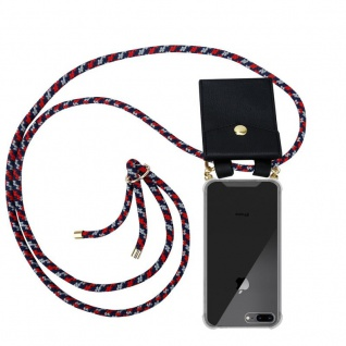 Cadorabo Handy Kette für Apple iPhone 8 PLUS / 7 PLUS / 7S PLUS in ROT BLAU WEISS Silikon Necklace Umhänge Hülle mit Gold Ringen, Kordel Band Schnur und abnehmbarem Etui Schutzhülle