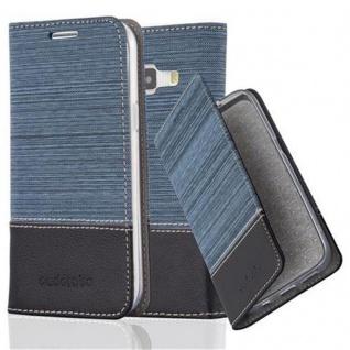 Cadorabo Hülle für Samsung Galaxy J1 2015 in DUNKEL BLAU SCHWARZ - Handyhülle mit Magnetverschluss, Standfunktion und Kartenfach - Case Cover Schutzhülle Etui Tasche Book Klapp Style