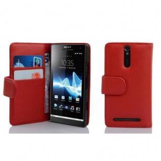 Cadorabo Hülle für Sony Xperia S in INFERNO ROT - Handyhülle aus strukturiertem Kunstleder mit Standfunktion und Kartenfach - Case Cover Schutzhülle Etui Tasche Book Klapp Style
