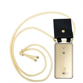 Cadorabo Handy Kette für Huawei NOVA PLUS in CREME BEIGE Silikon Necklace Umhänge Hülle mit Gold Ringen, Kordel Band Schnur und abnehmbarem Etui Schutzhülle