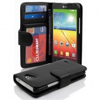 Cadorabo Hülle für LG L90 in OXID SCHWARZ ? Handyhülle mit Magnetverschluss und 3 Kartenfächern ? Case Cover Schutzhülle Etui Tasche Book Klapp Style