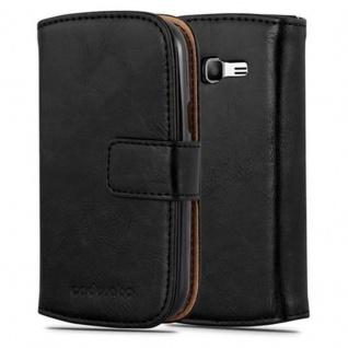 Cadorabo Hülle für Samsung Galaxy TREND LITE in GRAPHIT SCHWARZ ? Handyhülle mit Magnetverschluss, Standfunktion und Kartenfach ? Case Cover Schutzhülle Etui Tasche Book Klapp Style