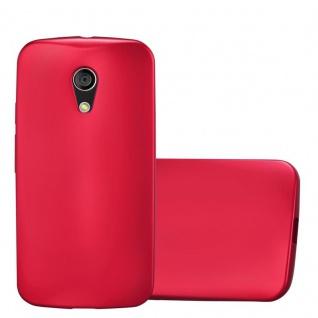 Cadorabo Hülle für Motorola MOTO G2 in METALLIC ROT - Handyhülle aus flexiblem TPU Silikon - Silikonhülle Schutzhülle Ultra Slim Soft Back Cover Case Bumper
