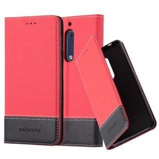 Cadorabo Hülle für Nokia 5 2017 in ROT SCHWARZ Handyhülle mit Magnetverschluss, Standfunktion und Kartenfach Case Cover Schutzhülle Etui Tasche Book Klapp Style
