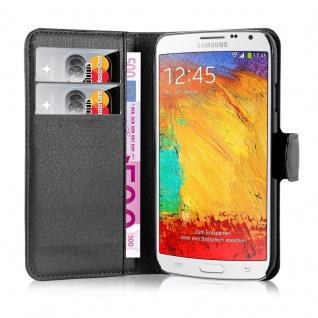Cadorabo Hülle für Samsung Galaxy NOTE 3 NEO in PHANTOM SCHWARZ - Handyhülle mit Magnetverschluss, Standfunktion und Kartenfach - Case Cover Schutzhülle Etui Tasche Book Klapp Style