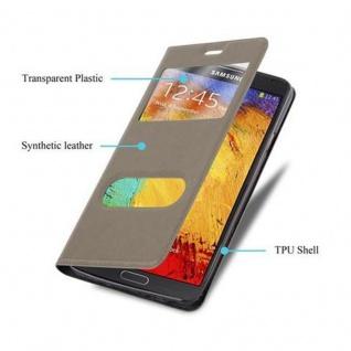 Cadorabo Hülle für Samsung Galaxy NOTE 3 in STEIN BRAUN ? Handyhülle mit Magnetverschluss, Standfunktion und 2 Sichtfenstern ? Case Cover Schutzhülle Etui Tasche Book Klapp Style - Vorschau 2