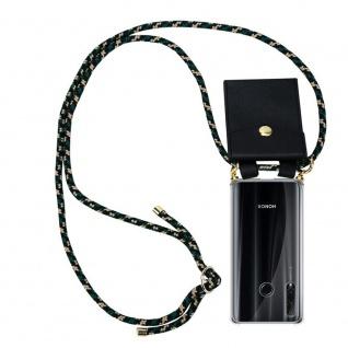 Cadorabo Handy Kette für Honor 20e in CAMOUFLAGE Silikon Necklace Umhänge Hülle mit Gold Ringen, Kordel Band Schnur und abnehmbarem Etui Schutzhülle