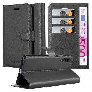 Cadorabo Hülle für Samsung Galaxy A70 in PHANTOM SCHWARZ Handyhülle mit Magnetverschluss, Standfunktion und Kartenfach Case Cover Schutzhülle Etui Tasche Book Klapp Style