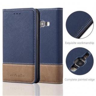 Cadorabo Hülle für Samsung Galaxy J1 2016 in DUNKEL BLAU BRAUN ? Handyhülle mit Magnetverschluss, Standfunktion und Kartenfach ? Case Cover Schutzhülle Etui Tasche Book Klapp Style