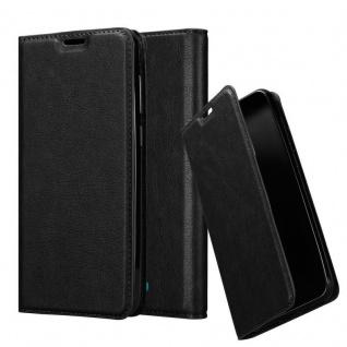 Cadorabo Hülle für WIKO VIEW 2 GO in NACHT SCHWARZ Handyhülle mit Magnetverschluss, Standfunktion und Kartenfach Case Cover Schutzhülle Etui Tasche Book Klapp Style