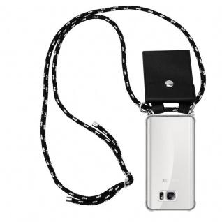 Cadorabo Handy Kette für Samsung Galaxy NOTE 5 in SCHWARZ SILBER - Silikon Necklace Umhänge Hülle mit Silber Ringen, Kordel Band Schnur und abnehmbarem Etui - Schutzhülle