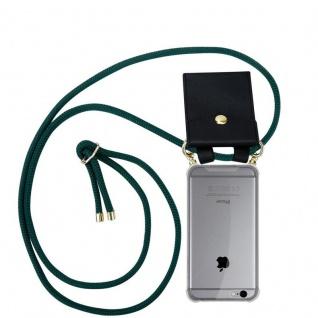Cadorabo Handy Kette für Apple iPhone 6 PLUS / iPhone 6S PLUS in ARMEE GRÜN - Silikon Necklace Umhänge Hülle mit Gold Ringen, Kordel Band Schnur und abnehmbarem Etui ? Schutzhülle