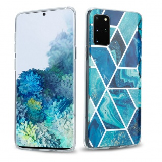 Cadorabo Hülle für Samsung Galaxy S20 PLUS Hülle in Blaue Welle Marmor No.13 Handyhülle aus TPU Silikon mit Muster Mosaik Silikonhülle Schutzhülle Ultra Slim Back Cover Case Bumper