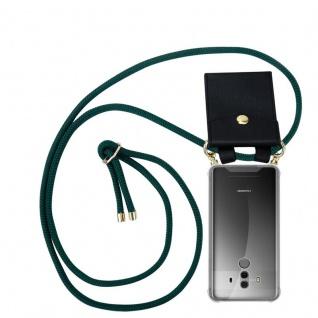 Cadorabo Handy Kette für Huawei MATE 10 PRO in ARMEE GRÜN - Silikon Necklace Umhänge Hülle mit Gold Ringen, Kordel Band Schnur und abnehmbarem Etui ? Schutzhülle